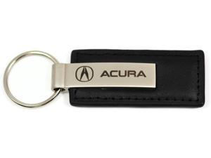 Acura Logo Emblem Keychain Black Leather Chrome Key Fob Metal Key Ring Lanyard