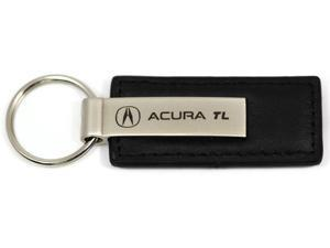 Acura TL Logo Keychain Black Leather Chrome Key Fob Metal Key Ring Lanyard