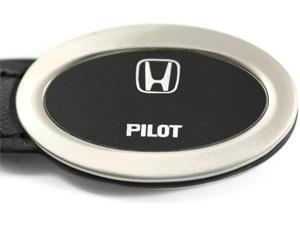 Honda Pilot Black Oval Leather Key Fob Authentic Logo Key Chain Key Ring Keychain Lanyard KC3210.PIL