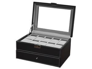 Mens 20 Watch Black Leather Display Case Organizer w/ Glass Top Box