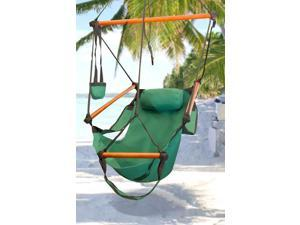 Hammock Hanging Chair Air Deluxe Sky Swing Outdoor Chair Solid Wood 250lb Green