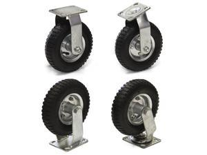 "(4) 8"" Air Tire Caster Wheels 2pc Rigid 2pc Swivel Heavy Duty Brand New"
