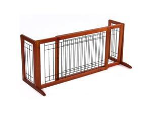 Pet Fence Gate Free Standing Adjustable Dog Gate Indoor Solid Wood Construction