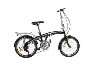 "BestChoiceProducts Folding Bike 20"" Shimano 6 Speed Silver Storage Bike - Black"