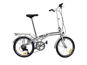 "BestChoiceProducts SKY407 20"" Shimano 6 Speed Folding Storage College Bike - Silver"
