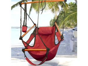 Hammock Hanging Chair Air Deluxe Sky Swing Outdoor Chair Solid Wood 250lb Red