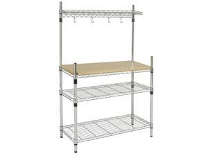 BCP Kitchen Storage Bakers Rack Chrome & Wood W/ Top Shelf Pan Hanger Cookware