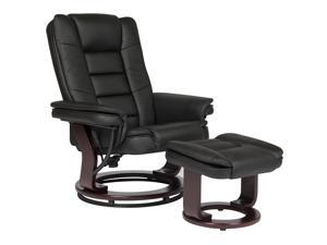 Best Choice Products Contemporary Leather Swivel Recliner Ottoman W/ Wood Base
