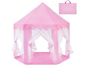 Best Choice Products Indoor/Outdoor Folding Deluxe Pop-Up Hexagon Princess Castle Play Tent - Pink