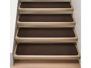 Set of 15 Attachable Indoor Carpet Stair Treads - Chocolate Brown - Several Other Sizes to Choose From
