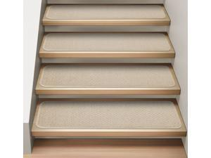 Set of 12 Attachable Indoor Carpet Stair Treads - Ivory Cream - Several Other Sizes to Choose From