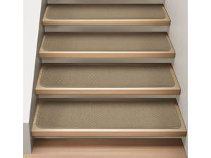Set of 15 Attachable Indoor Carpet Stair Treads - Camel Tan - Several Other Sizes to Choose From