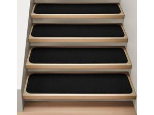 Set of 12 Attachable Indoor Carpet Stair Treads - Black - Several Other Sizes to Choose From