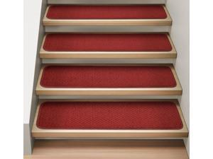 Set of 12 Attachable Indoor Carpet Stair Treads - Brick Red - Several Other Sizes to Choose From
