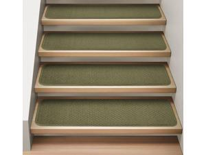 Set of 15 Attachable Indoor Carpet Stair Treads - Olive Green - Several Other Sizes to Choose From
