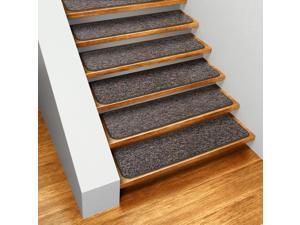 Set of 15 Skid-resistant Indoor Carpet Stair Treads - Pebble Gray - Several Other Sizes to Choose From