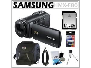 Samsung HMX-F80 HD Camcorder with 52x Optical Zoom and 2.7-inch LCD in Black + 32GB Memory Card + HDMI To Mini-HDMI 6 Foot ...