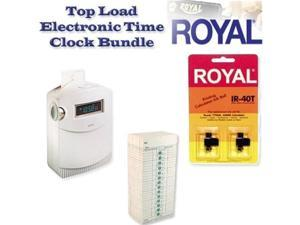 Royal TC100 TimeMaster Time Clock Bundle with IR-40T Ink Pack and Royal 13702 pack of 250 Time Cards