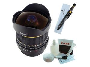 Rokinon FE8M-N 8mm F3.5 Fisheye Lens for Nikon + Deluxe Cleaning Kit for D7000, D5100, D3100, D5000, D3000, D90, D40 +