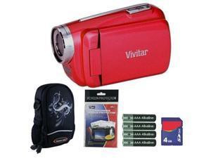 Vivitar DVR508 Strawberry Red Digital Video Camera Camcorder 4GB Kit