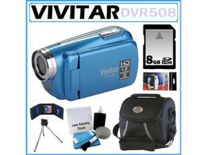 Vivitar DVR508 High Definition Digital Video Camcorder Blue 8GB Kit