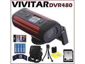 Vivitar DVR480 Helmet Digital Camcorder w/ 2.7-inch Screen Red + 8 GB Memory Card + Mini Tripod + Camcorder Bag + Accessory ...