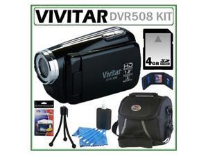 Vivitar DVR508 HD Digital Video Camcorder in Black + 4GB Kit