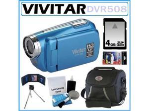 Vivitar DVR508 High Definition Digital Video Camcorder Blue 4GB Kit
