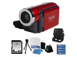 Vivitar DVR 518 5.1MP Digital Video Recorder Red + 4GB Memory Card Accessory Kit