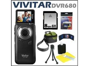 Vivitar DVR680 5.1MP 4X Itwist Digital Camcorder Black + 8 GB Memory Card + Camcorder Bag + Accessory Kit