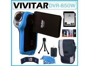 Vivitar DVR-850W Underwater Digital Camcorder Blue 8GB Kit