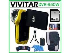 Vivitar DVR-850W Underwater Digital Camcorder Yellow 8GB Kit