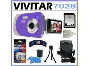 Vivitar Vivicam Itwist 7028 Digital Camera in Blue 8GB Kit
