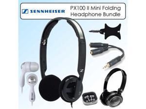 Sennheiser PX100 II Black Supra Aural Mini Folding Headphones Kit