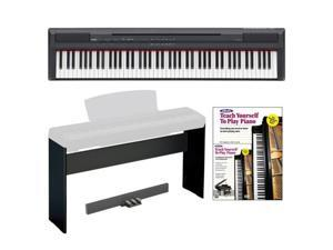 Yamaha P Series P105B 88-Key Digital Piano in Black + Custom Digital Piano/Keyboard Stand + 3 Pedal Unit + Alfred's Teach ...