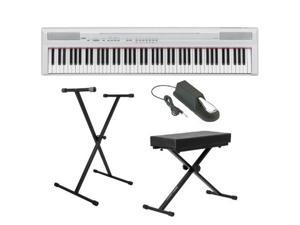 Yamaha P Series P105B 88 Keys Digital Piano in White + On Stage Single X Style Keyboard Stand + JamStands Keyboard Bench ...