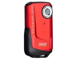 "Coleman CVW9HD-R 1080P HD Waterproof Pocket Camcorder 8MP 3X, 2"" LCD - Red"