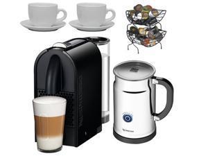 Nespresso U D50 Espresso Maker with Aeroccino Milk Frother + Nifty 6650 Single Serve Coffee Baskets + 3 oz Ceramic Tiara ...