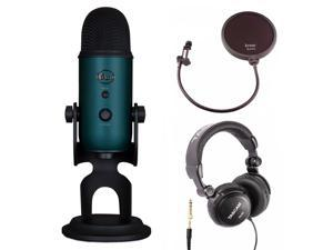Blue Microphones Yeti Teal USB Microphone with Headphones and Knox Pop Filter