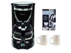 Capresso 42401 12-Cup Drip Coffee Maker + 2-Pieces 11oz Ceramic Coffee Mug, White + Coffee/ Espresso Descaler