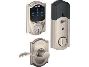 Schlage Touchscreen Deadbolt  w/ Built-In Alarm & Accent Lever (Satin Nickel)