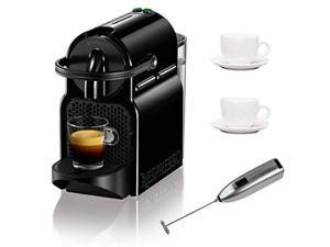 Nespresso C 40 Inissia Espresso Maker (Black) with Two 3 oz Ceramic Tiara Espresso Cups and Saucers and Knox Handheld Milk Frother