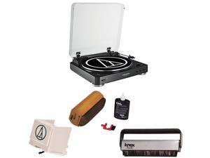 Audio Technica AT-LP60BK-BT Bluetooth Fully Automatic Belt-Drive Stereo Turntable w/ Stylus & Brush Cleaner