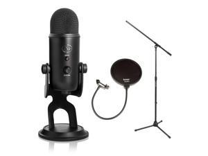 Blue Microphones Yeti 16-bit USB Microphone(Blackout) with Stand and Pop Filter