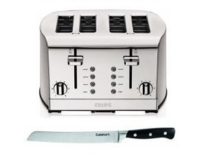 "Krups Breakfast Set 4-Slice Toaster (Brushed Chrome/Stainless) with Faberware 8"" Stainless Steel Bread Knife"