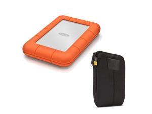 LaCie Rugged Mini USB 3.0 2TB External Hard Drive w/ Case Logic Portable Hard Drive Case