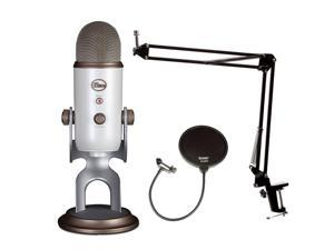 Blue Microphones Vintage White YETI Mic w Knox Boom Arm Stand, & Pop Filter