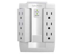 CyberPower Systems USA QY0628W CyberPower CSB600WS 900 Joules Essential Wall Tap with 6-Outlet Surge Suppressor