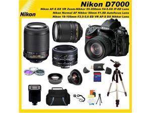 Nikon D7000 16.2MP DX-Format CMOS Digital SLR with 3.0-Inch LCD with Nikon 18-105mm ED VR AF-S DX Nikkor Autofocus Lens & ...