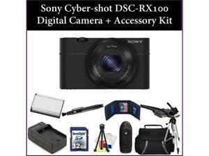 Sony Cyber-shot DSC-RX100 Digital Camera + Accessory Kit. Includes:32GB Memory Card, Memory Card Reader, Battery, Charger, ...